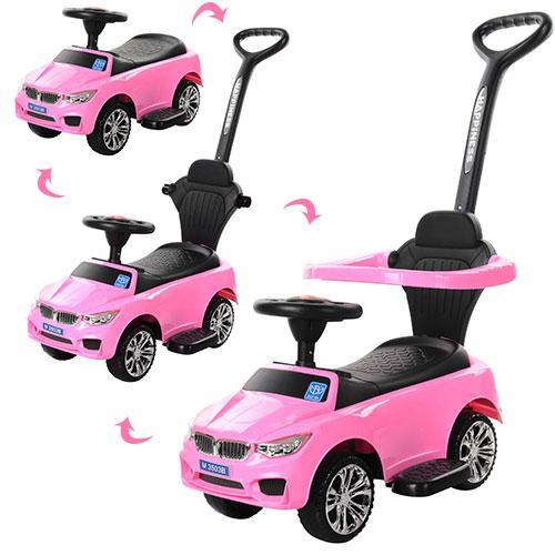 Каталка-толокар для малышей BAMBI M 3503B-8 розовый BMW с родительской ручкой
