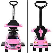 Каталка-толокар для малышей BAMBI M 3503B-8 розовый BMW с родительской ручкой, фото 4
