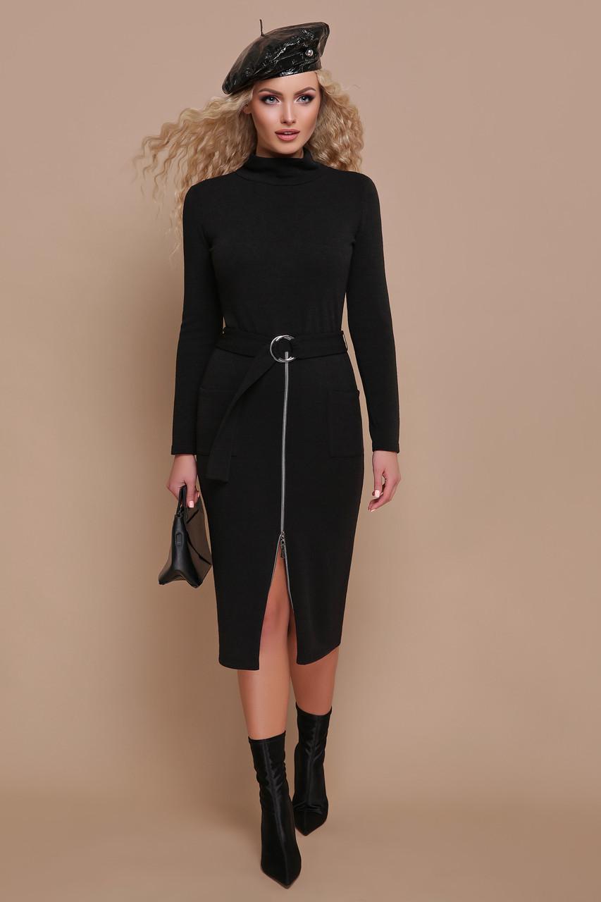 Стильное осеннее платье миди приталенное впереди регулируемая змейка с поясом черное