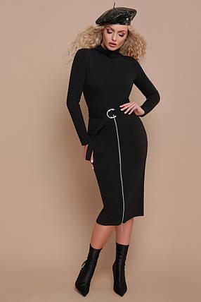 Стильное осеннее платье миди приталенное впереди регулируемая змейка с поясом черное, фото 2