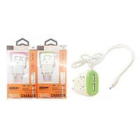 Зарядний пристрій 2 USB + Micro USB (220В 2.1 А V8 -LOVE Любов)