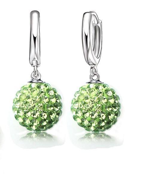 Серебряные серьги Зеркальный шар зеленые стерлинговое серебро 925 проба (код 1225)