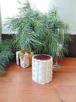 Вязанный новогодний чехол для свечи,декор свечи,футляр для свечи, фото 1