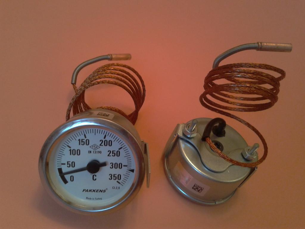 Термометр капиллярный PAKKENS Ø60мм от 0 до 350°С, длина капилляра 1метр     Турция