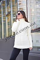 Теплый женский свитер,  молоко, фото 1
