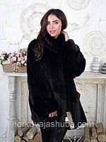 Норковая черная шуба большого размера 50 52 54