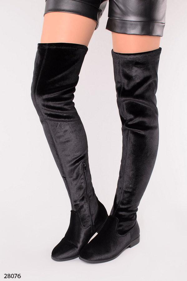 Женские сапоги - ботфорты черные осенние велюр высота 64 см