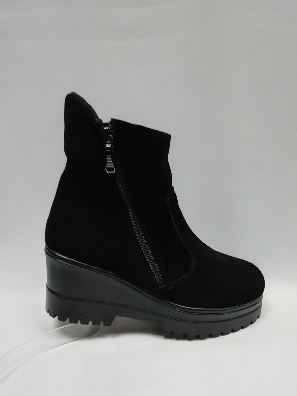 Черные  ботиночки на высокой подошве. Украина..