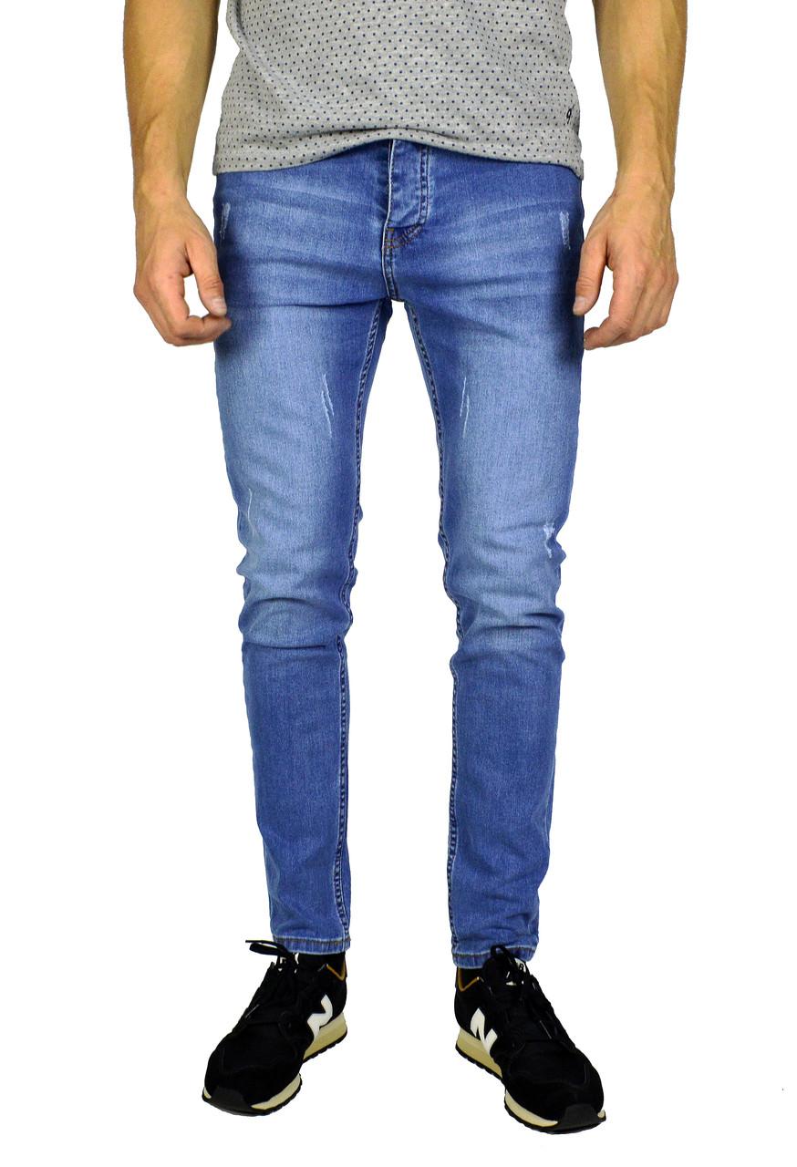 Голубые мужские джинсы зауженные ARMANI JEANS