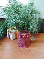 Вязанный новогодний чехол для свечи,декор свечи,футляр для свечи