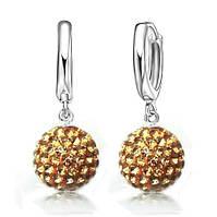 Серебряные серьги Зеркальный шар желтые стерлинговое серебро 925 проба (код 1227)