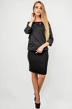 Жіноча спідниця прямого покрою Торрі / розмір 44-52 колір чорний