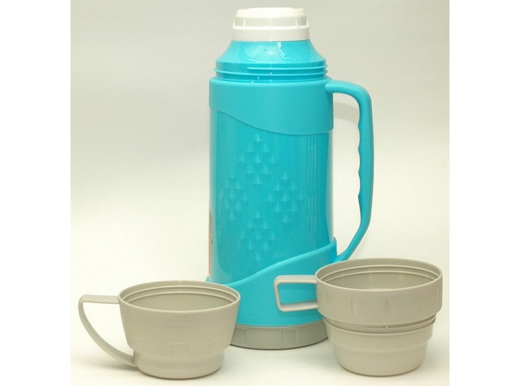 Термос 1 л (2 чашки) T42-1, пластиковый термос со стеклянной колбой и двумя чашками