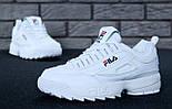 Жіночі зимові кросівки і чоловічі Fila Disruptor 2 white білі на хутрі. Живе фото (Репліка ААА+), фото 2