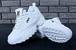 Жіночі зимові кросівки і чоловічі Fila Disruptor 2 white білі на хутрі. Живе фото (Репліка ААА+), фото 3