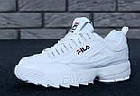 Жіночі зимові кросівки і чоловічі Fila Disruptor 2 white білі на хутрі. Живе фото (Репліка ААА+), фото 4