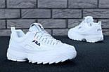 Жіночі зимові кросівки і чоловічі Fila Disruptor 2 white білі на хутрі. Живе фото (Репліка ААА+), фото 5
