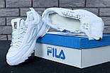 Жіночі зимові кросівки і чоловічі Fila Disruptor 2 white білі на хутрі. Живе фото (Репліка ААА+), фото 7