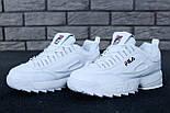Жіночі зимові кросівки і чоловічі Fila Disruptor 2 white білі на хутрі. Живе фото (Репліка ААА+), фото 6