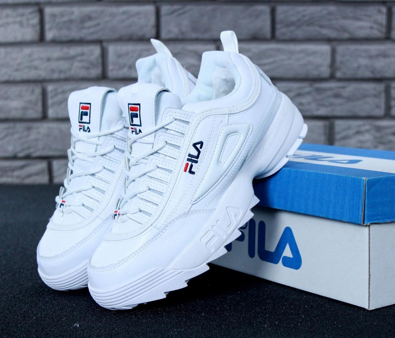Жіночі зимові кросівки і чоловічі Fila Disruptor 2 white білі на хутрі. Живе фото (Репліка ААА+)