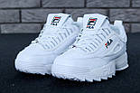 Жіночі зимові кросівки і чоловічі Fila Disruptor 2 white білі на хутрі. Живе фото (Репліка ААА+), фото 8