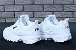 Жіночі зимові кросівки і чоловічі Fila Disruptor 2 white білі на хутрі. Живе фото (Репліка ААА+), фото 9