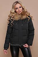 Модная женская зимняя короткая курточка с манжетами Куртка 18-132 зеленая