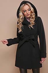Женское зимнее короткое черное пальто с капюшоном
