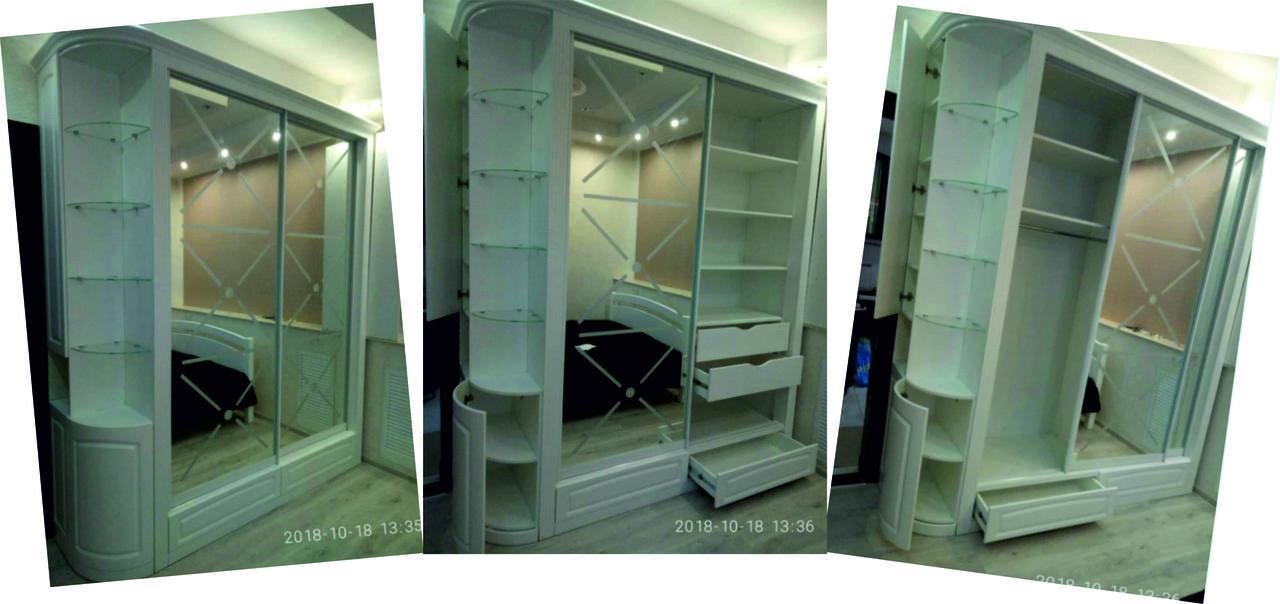 Шкаф-купе в классическом стиле в прихожую Белый под заказ