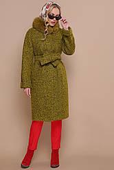 Женское зимнее пальто прямого кроя ниже колен с меховым воротником П-302-100 зм цвет 1222-карри