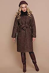 Классическое женское зимнее пальто прямое ниже колен с мехом П-302-100 зм цвет 1224-коричневый