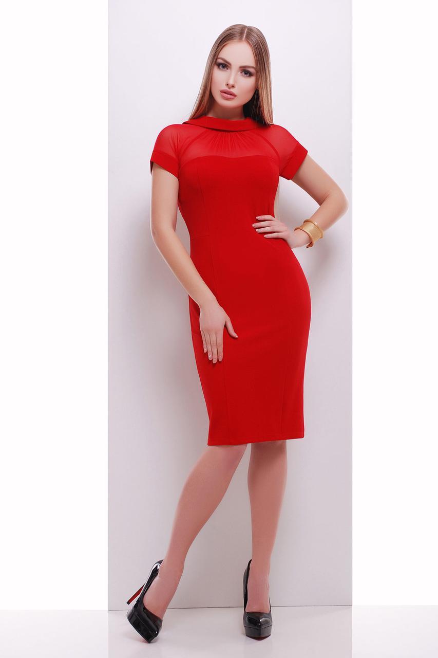 02f306da792 Вечернее красное облегающее платье по колено с коротким рукавом из сетки  Алесандра к р -