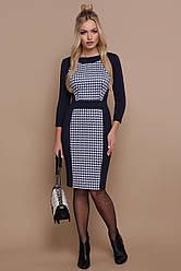 Офисное темно-синее платье по фигуре до колен принт гусиная лапка Шанель-П д/р
