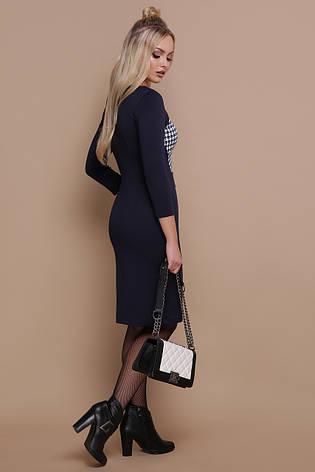 81da2fdcc33 Офисное темно-синее платье по фигуре до колен принт гусиная лапка Шанель-П д