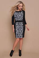 Классическое черное офисное платье футляр по колено с принтом Узор черный Шанель-П д/р