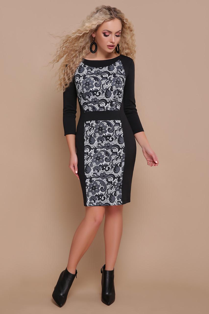 6c51c9e0f54 Классическое черное офисное платье футляр по колено с принтом Узор черный  Шанель-П д
