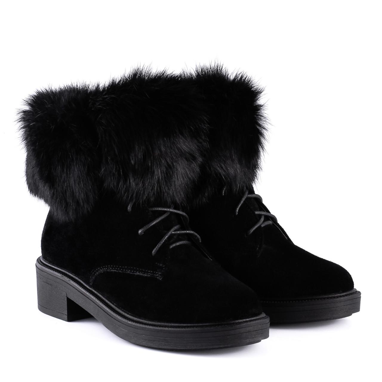 180ea0e6b Купить Ботинки женские Kento (замшевые, черные, стильные, с мехом ...