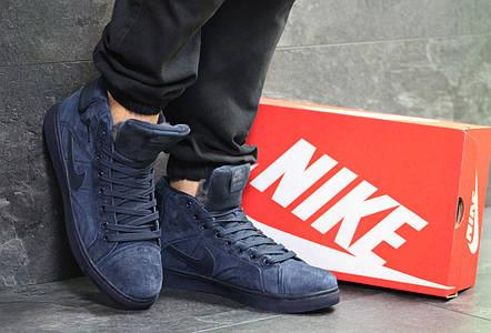 16784fef41d8 Высокие зимние кроссовки Nike Jordan замшевые,темно синие  продажа ...