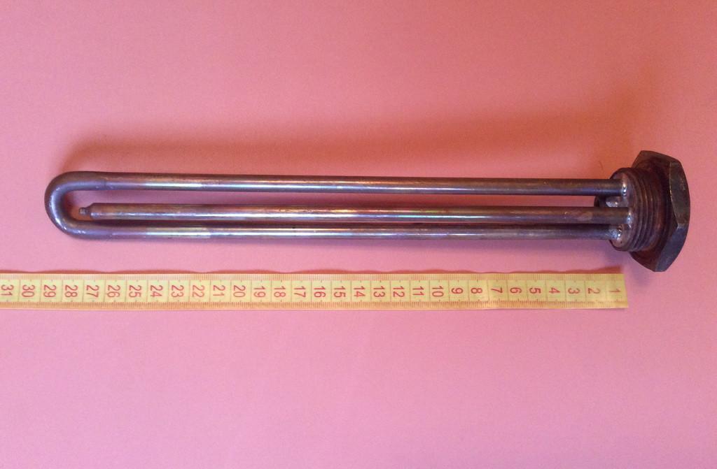 """Тэн прямой медный 2500W на резьбе 1 1/4"""" (Ø42мм) с местом под анод М6     RECO, Италия"""