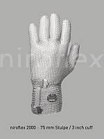 Кольчужные перчатки NIROFLEX 2000 5-палая с отворотом с 7,5 см наметаллической застежкой.