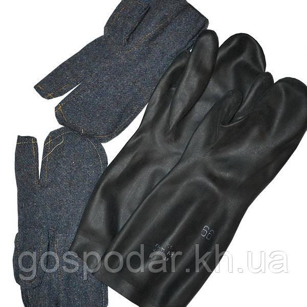 Перчатки трехпалые резиновые БЗ-1М