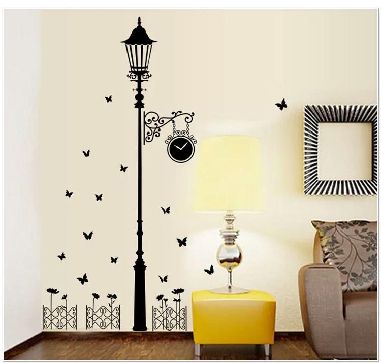 """Наклейка на стену, украшения стены наклейки для кухни """"столб с часами"""" 110см*185см (лист60*90см)"""