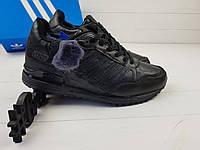 Зимние Мужские Кроссовки Adidas ZX 750 Черные. Кожа, Натуральный Мех!