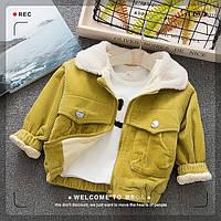 Вельветовая куртка для детей унисекс, утепленная плюшем 7442827, код (39779) в наличии: 80см,90см,100см