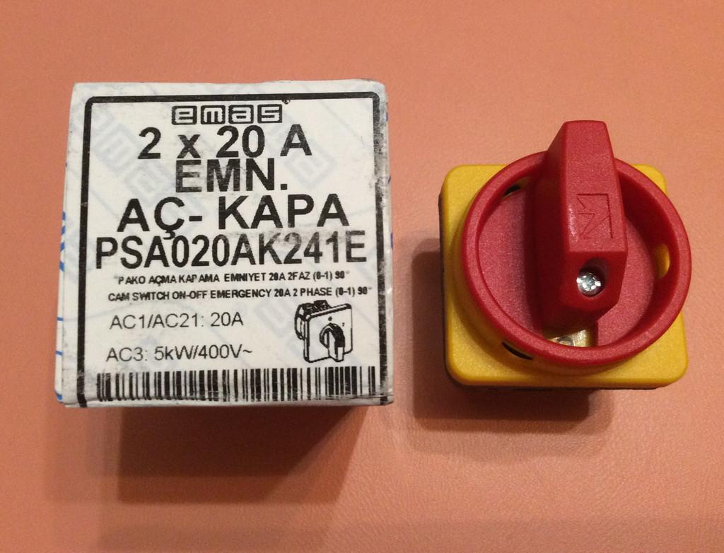 Переключатель ON/OFF двухфазный двухполосный PSA020AK241E / 20А / 230 - 400V для электроплит    EMAS, Турция
