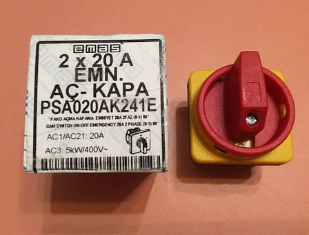 Переключатель ON/OFF двухфазный двухполосный PSA020AK241E / 20А / 230 - 400V для электроплит    EMAS, Турция, фото 2