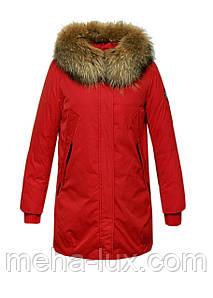 Пуховик парка Snowimage с мехом средней длинны красного цвета