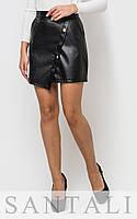 Короткая кожаная женская юбка с пуговицами 45JU140, фото 1