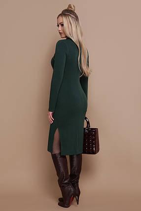 Осеннее платье до колен облегающее ангоровое под горло с декольте на змейке изумрудное, фото 2