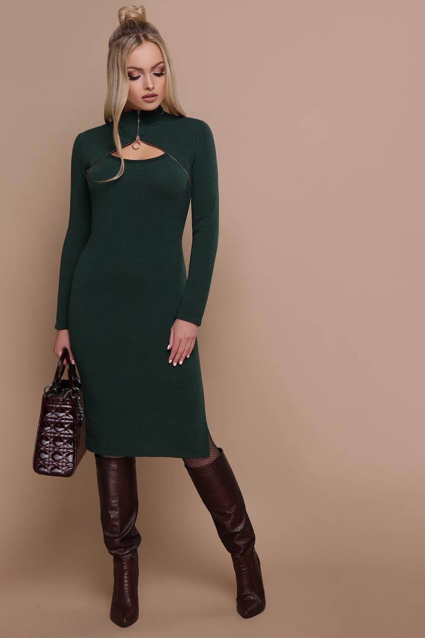 Осеннее платье до колен облегающее ангоровое под горло с декольте на змейке изумрудное